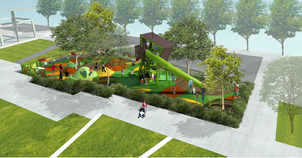 . Artist rendering of the Grand Park innovative new play area. The play area is slated to open in November 2014. Los Angeles, CA. 7/30/2014(Rendering Courtesy of Rios Clementi Hale)