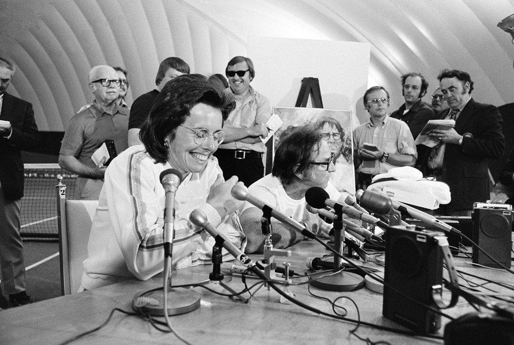 . Billie Jean King, left, and Bobby Riggs answer questions at press conference following their match in the Houston Astrodome Sep. 20,1973. King demolished the 55 year old Riggs.(AP Photo)