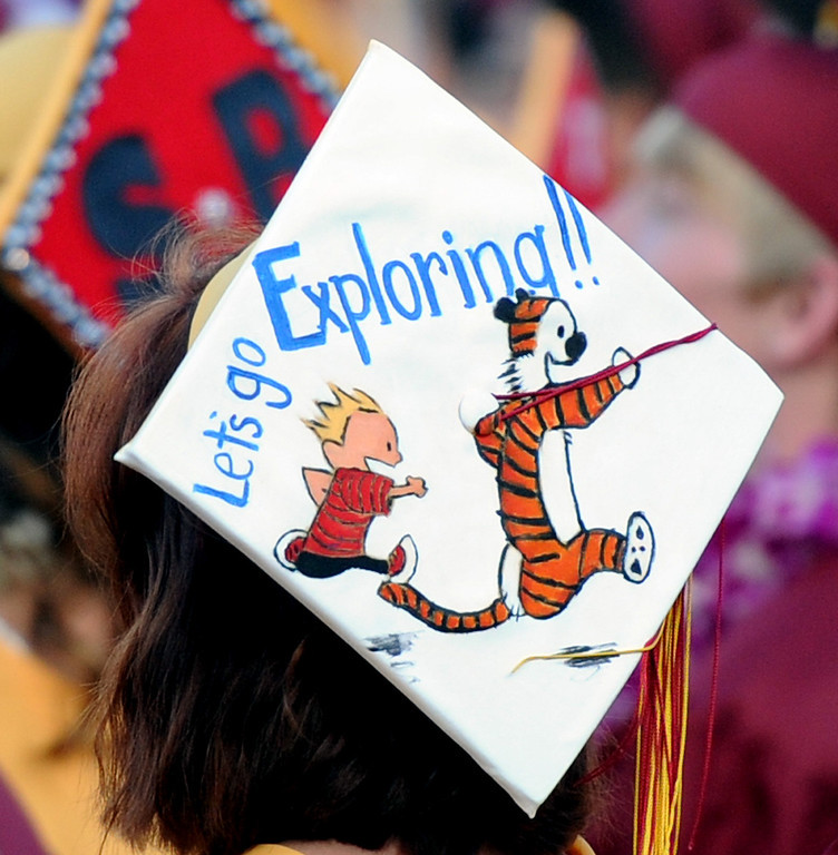 . A colorful cap during the La Canada High School commencement at La Canada High School on Thursday, June 13, 2013 in La Canada, Calif.
