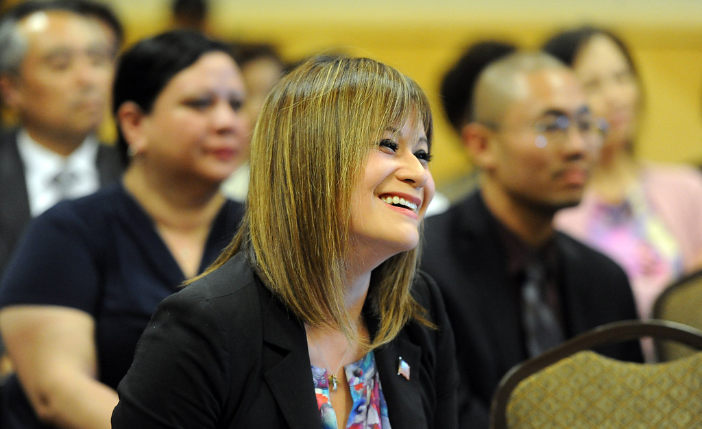 . Councilwoman Ling Ling Chang R-Diamond Bar smiles as Senate republican Leader, Bob Huff (not pictured) talks about her during an announcment of her candidacy for State Assembly, 55th Assembly District during a press conference at Pacific Palms Resort on Friday, May 24, 2013 in Industry, Calif.  (Keith Birmingham Pasadena Star-News)