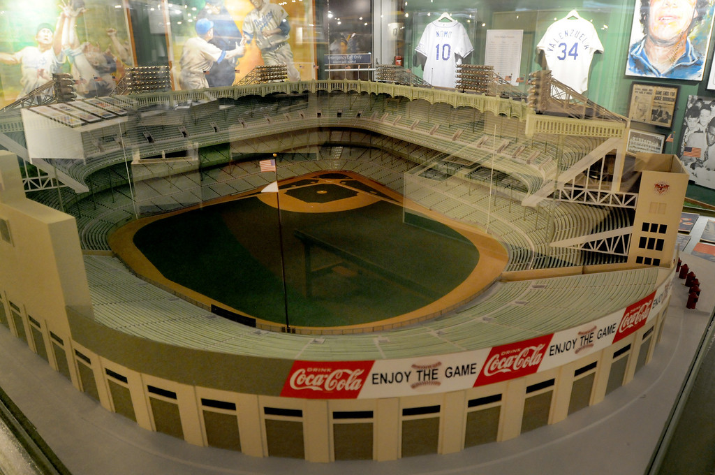 """. A Yankee Stadium replica is included in the \""""Baseball!\"""" exhibit. The Exhibition opens April 4, 2014 at the Ronald Reagan Presidential Library and Museum.  Running through September 4, 2014, Baseball is a 12,000 square foot exhibition featuring over 700 artifacts, including some of the rarest, historic and iconic baseball memorabilia.  (Photo by Dean Musgrove/Staff Photographer)"""