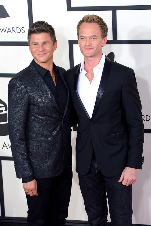 . David Burtka and Neil Patrick Harris arrive at the 56th Annual GRAMMY Awards at Staples Center in Los Angeles, California on Sunday January 26, 2014 (Photo by David Crane / Los Angeles Daily News)