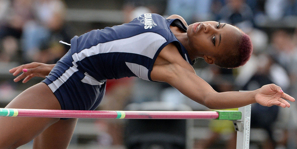 . Redland\'s Juanita Webster competes in the division 2 high jump during the CIF Southern Section track and final Championships at Cerritos College in Norwalk, Calif., on Saturday, May 24, 2014. 