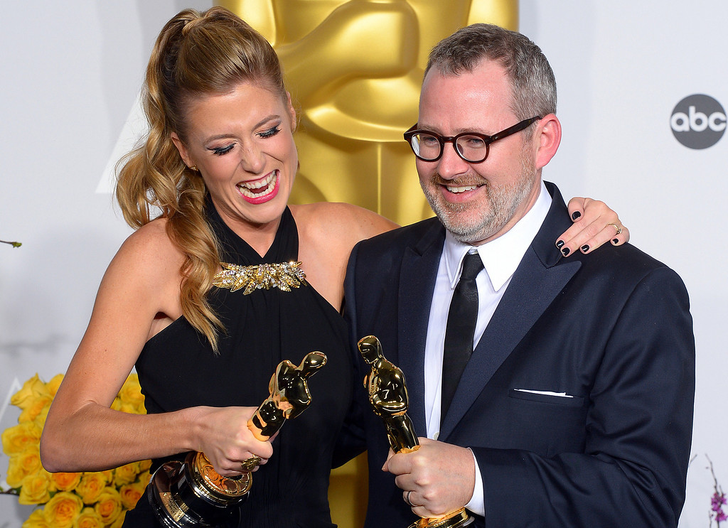 . Producer Caitrin Rogers, and  Director Morgan Neville accept the Best Documentary, Feature award for \'20 Feet from Stardom\' backstage at the 86th Academy Awards at the Dolby Theatre in Hollywood, California on Sunday March 2, 2014 (Photo by David Crane / Los Angeles Daily News)