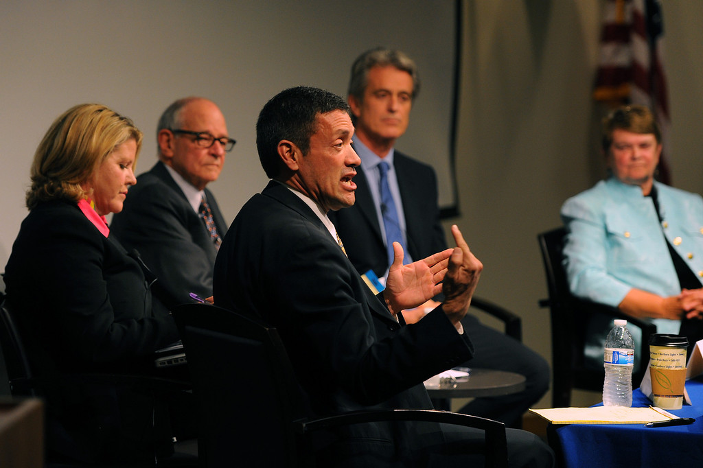 . West Hollywood councilman John Duran, front, answers a question at the 3rd District Board of Supervisors debate with candidate, from left, former Malibu mayor Pamela Conley Ulich, moderator Warren Olney, former Santa Monica councilman Bobby Shriver and former state legislator Sheila Kuehl, Thursday, March 20, 2014, at UCLA�s California NanoSystems Institute Auditorium. (Photo by Michael Owen Baker/L.A. Daily News)