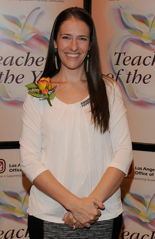 . Jill Tobin from Burbank USD. Sixteen teachers from throughout the Los Angeles County were named as Teachers of the Year during a ceremony at the Universal Hilton. Teachers received a cash award from the California Credit Union as well as software and hardware to use in their classrooms from eInstruction. Universal City, CA. 9/27/2013. photo by (John McCoy/Los Angeles Daily News)