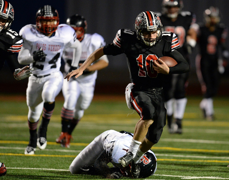 . Hart�s Connor Wingenroth #10 picks up a big gain during their CIF Northern Division playoff game against Palos Verdes at College of the Canyons in Santa Clarita Friday November 22, 2013. (Photos by Hans Gutknecht/Los Angeles Daily News)