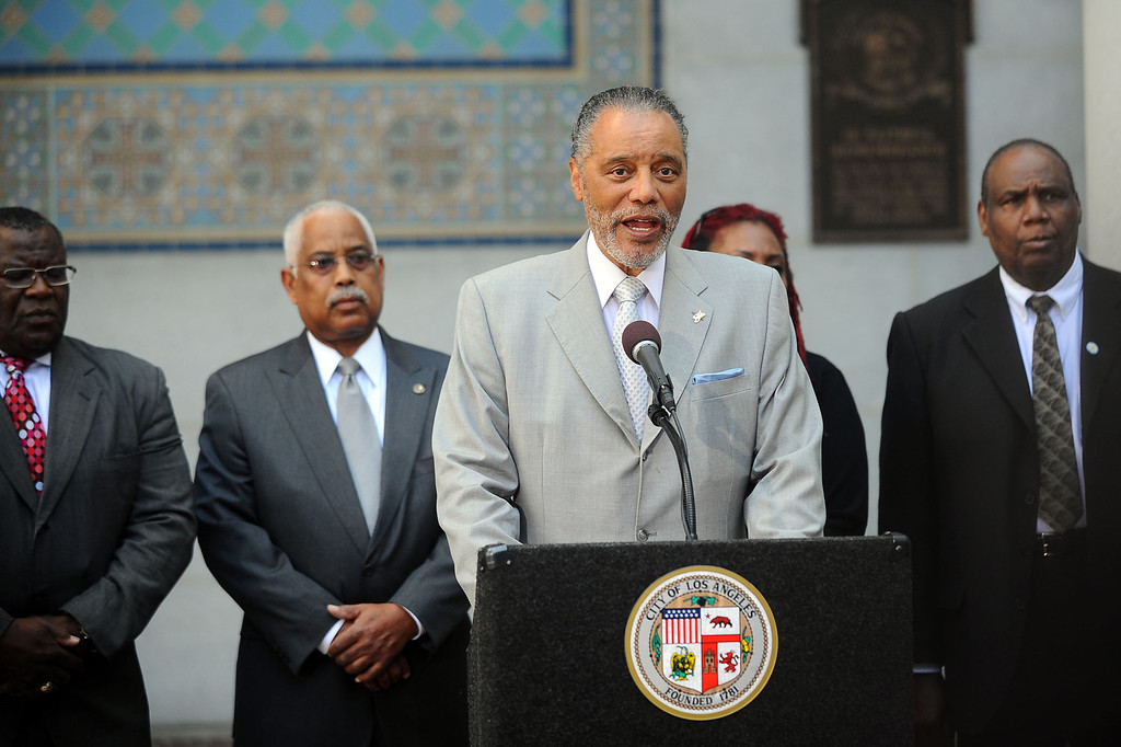. Los Angeles City Councilman  Bernard C. Parks speaks during a news conference on Tuesday, April 29, 2014, at City Hall to discuss his motion that asks the city to take a position condemning Clippers owner Donald Sterling�s allegedly racist statements concerning African-Americans and to support reasonable sanctions against him. (Andy Holzman/Los Angeles Daily News)