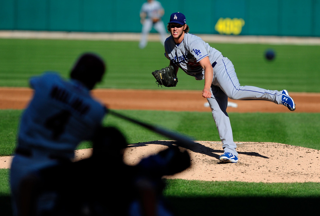 . Los Angeles Dodgers starting pitcher Clayton Kershaw throws to St. Louis Cardinals\' Yadier Molina during the first inning of Game 2 of the National League baseball championship series Saturday, Oct. 12, 2013, in St. Louis. (AP Photo/Jeff Curry, Pool)