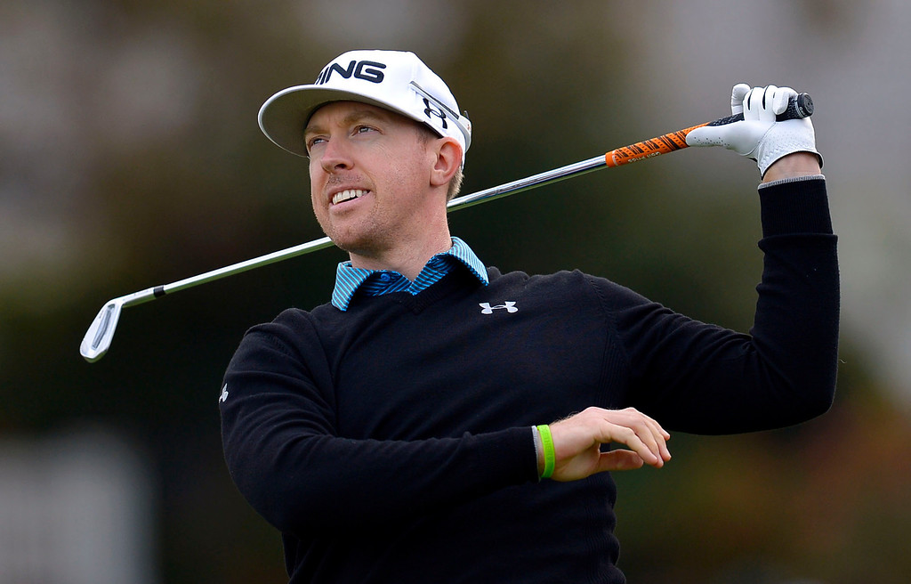 . Hunter Mahan lets go of his club on the third tee box during the second round of the Northwestern Mutual World Challenge golf tournament at Sherwood Country Club, Friday, December 6, 2013, in Thousand Oaks, Calif. (Andy Holzman/Los Angeles Daily News)