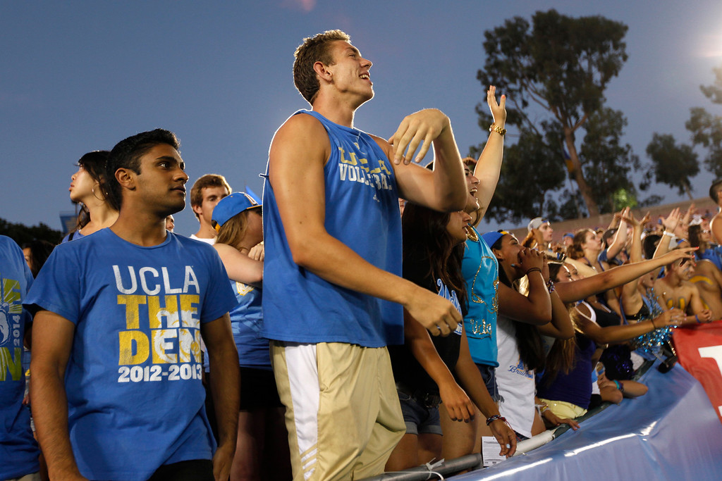 . Fans at the UCLA-Nevada game at the Rose Bowl, Saturday, August 31, 2013. (Michael Owen Baker/L.A. Daily News)