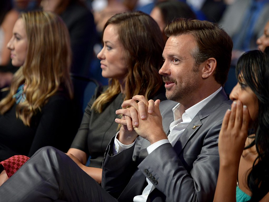 . Olivia Wilde, left, and Jason Sudeikis appear in the audience at the ESPY Awards on Wednesday, July 17, 2013, at the Nokia Theater in Los Angeles. (Photo by Jordan Strauss/Invision/AP)