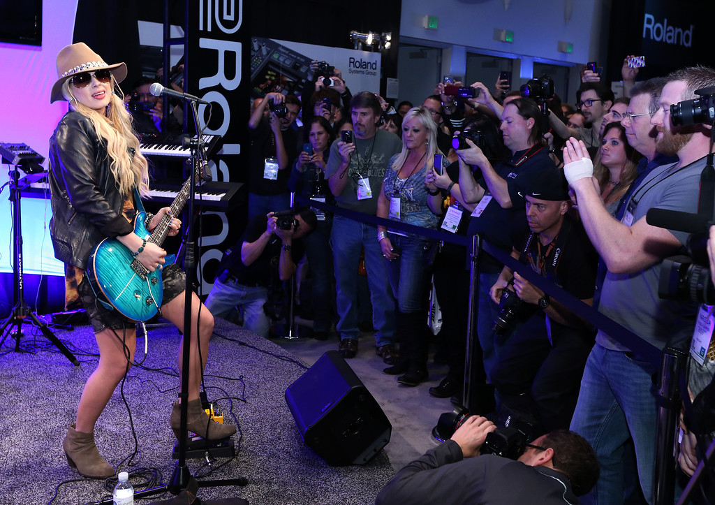 . ANAHEIM, CA - JANUARY 24:  Musician Orianthi attends the 2014 National Association of Music Merchants show at the Anaheim Convention Center on January 24, 2014 in Anaheim, California.  (Photo by Jesse Grant/Getty Images for NAMM)