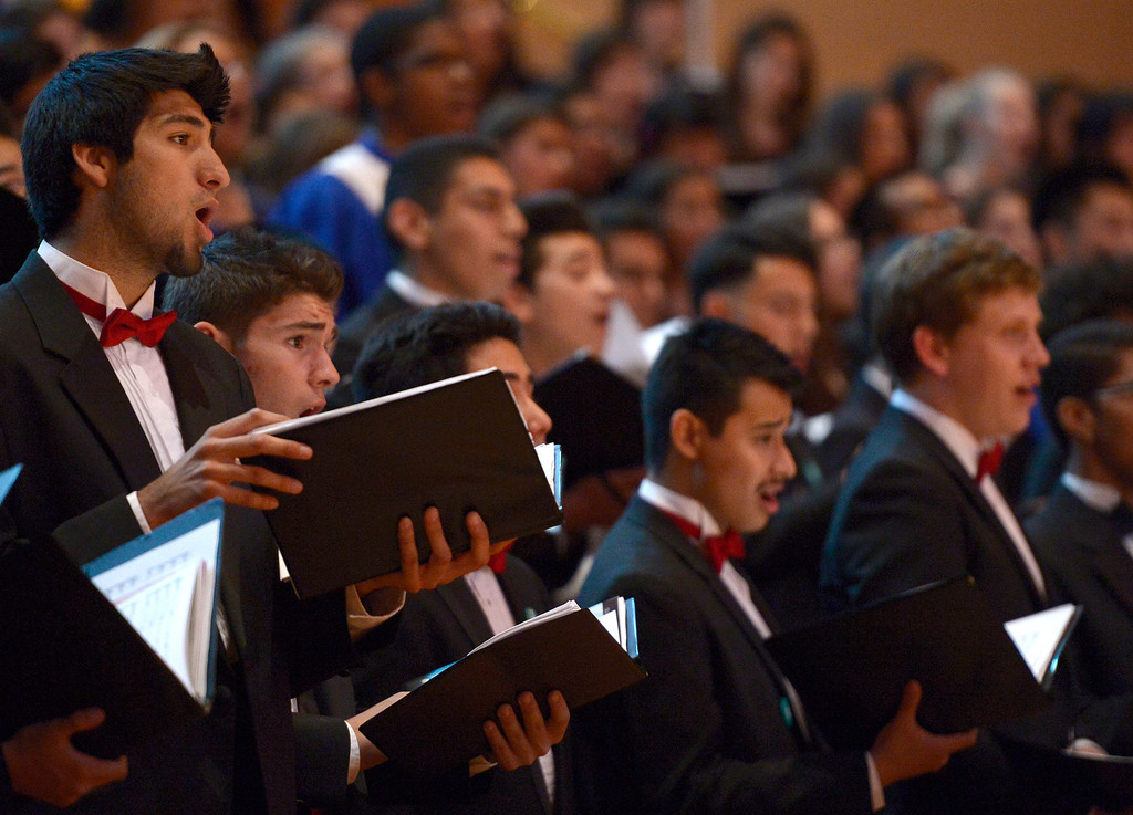 . Students from Taft sing. 1,000 students from 28 southland High Schools performed in the Los Angeles Master Chorale High School Choir Festival at the Walt Disney Concert Hall. Directed by Grant Gershon, the choir filled the hall with music from every angle. Los Angeles, CA. 5/2/2014(Photo by John McCoy / Los Angeles Daily News)