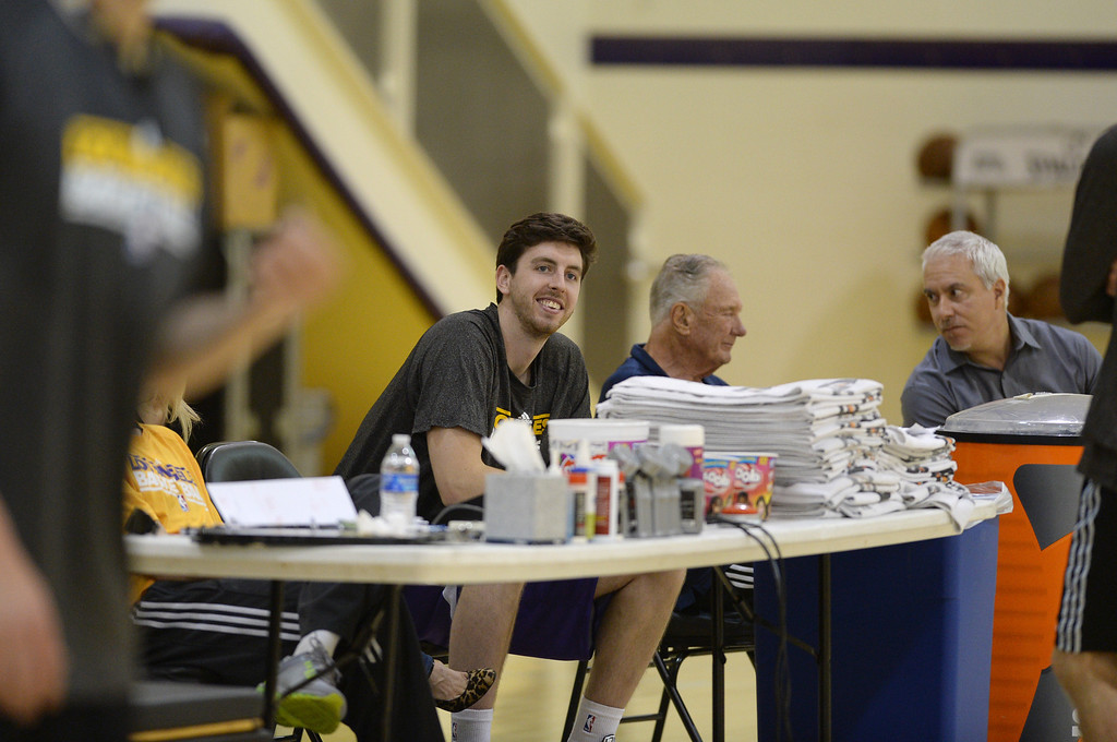 . Laker\'s practice and media meet up with draft pick Ryan Kelly and latest signee Robert Sacre.   Photo by Brad Graverson 7-10-13