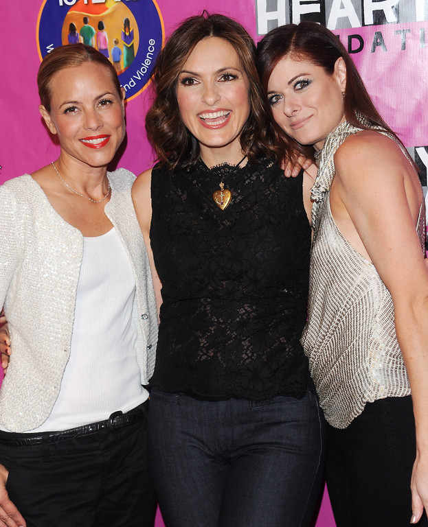 . From left, actresses Maria Bello, Mariska Hargitay and Debra Messing attend the Joyful Heart Foundation Gala recognizing the 15th Anniversary of the Violence Against Women Act, at Skylight Soho, Wednesday, May 5, 2010 in New York. (AP Photo/Evan Agostini)