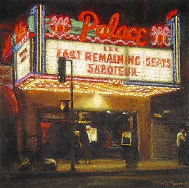 ". ""Palace Theater\"" by Los Angeles pastel artist Nancy Popenoe.  Popenoe gets her inspiration from the streets and night scenes around her Los Angeles neighborhood.  Photo by David Crane/Los Angeles Daily News"