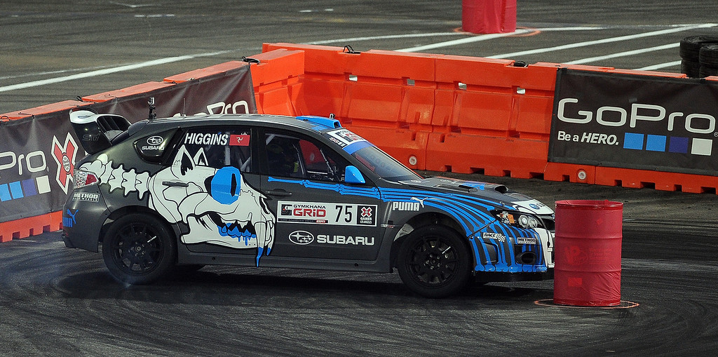 . David Higgins races during the X Games Gymkhana Grid finals at Irwindale Speedway on Saturday, Aug. 3, 2013 in Irwindale, Calif.   (Keith Birmingham/Pasadena Star-News)