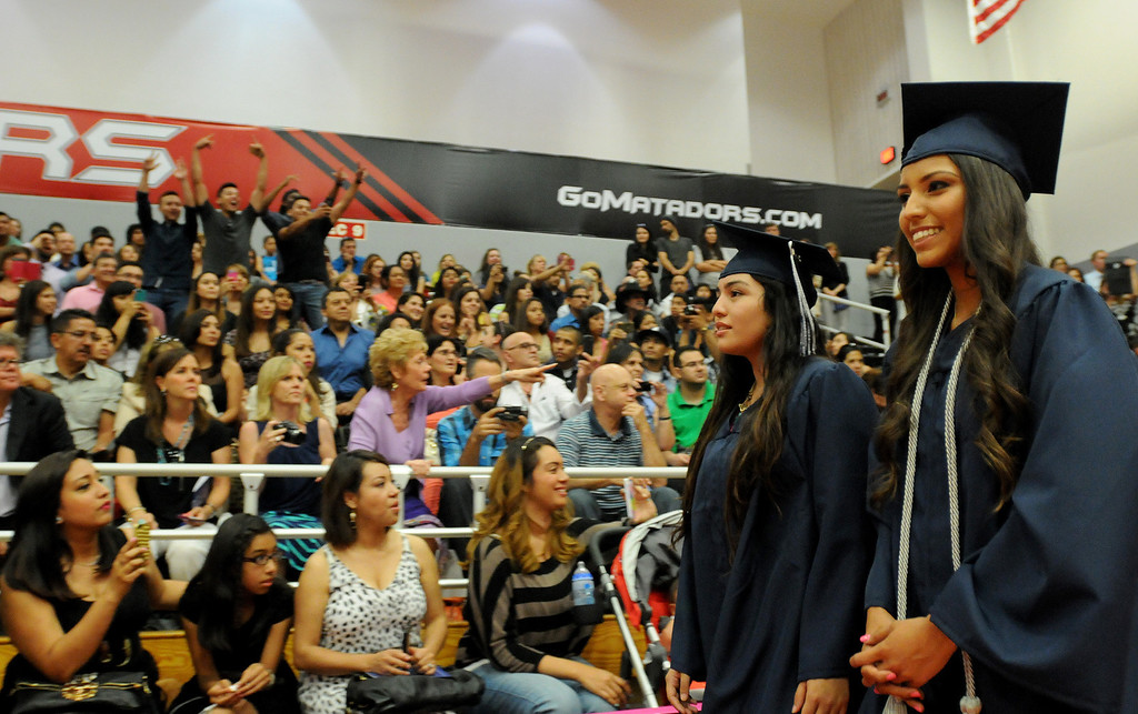 . Students at Northridge Academy High School graduation ceremony enter the CSUN gym on Thursday, June 5, 2014. (Photo by Dean Musgrove/Los Angeles Daily News)