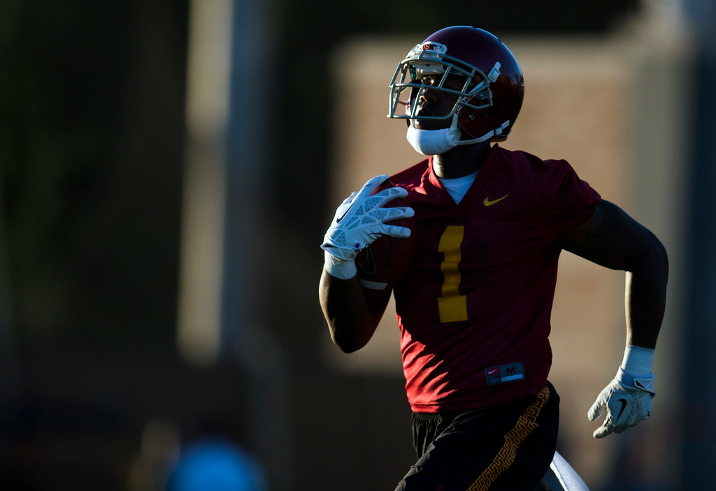 . Darreus Rogers #1  during practice at USC, Howard Jones Field on the USC campus in Los Angeles, Monday, August 4, 2014. (Photo by Hans Gutknecht/Los Angeles Daily News)
