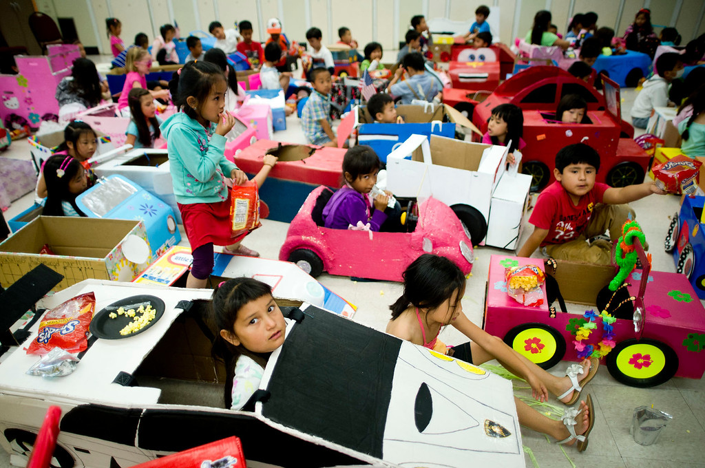 . Kindergardeners show off their cardboard cars in the annual car show at Blandford Elementary School in Rowland Heights on Tuesday, June 4, 2013. (Staff photo by Watchara Phomicinda/ Los Angeles Media News Group)