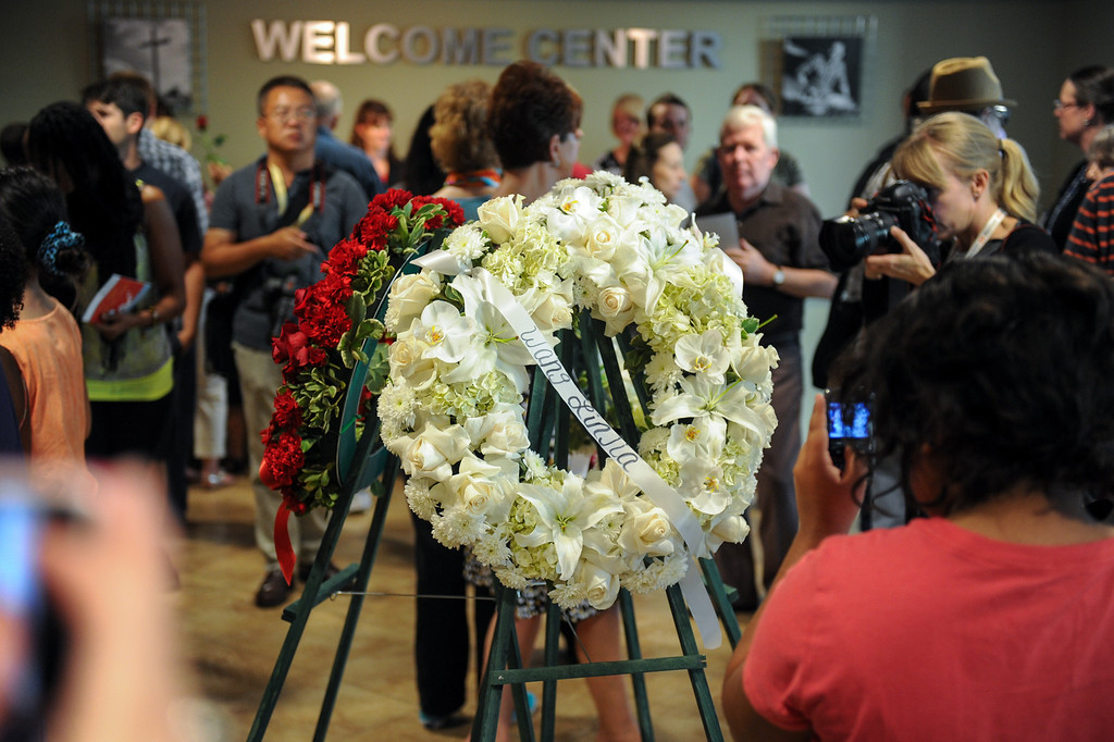 . Wreaths are placed in the lobby following a prayer vigil at West Valley Christian School, Thursday, July 11, 2013, in honor of the crash victims of Asiana Flight 214 airliner that crashed at San Francisco Airport. (Michael Owen Baker/L.A. Daily News)