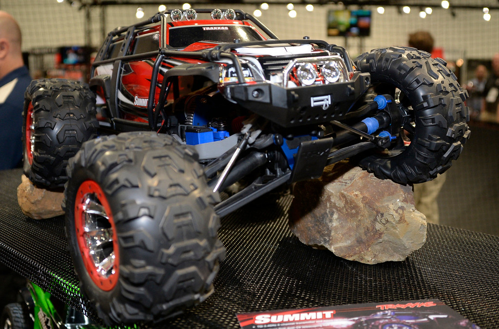 . Nov 5,2013 Las Vegas NV. USA. The famous Traxxas remote 4x4 cars on display during the first day of the 2013 SEMA auto show.