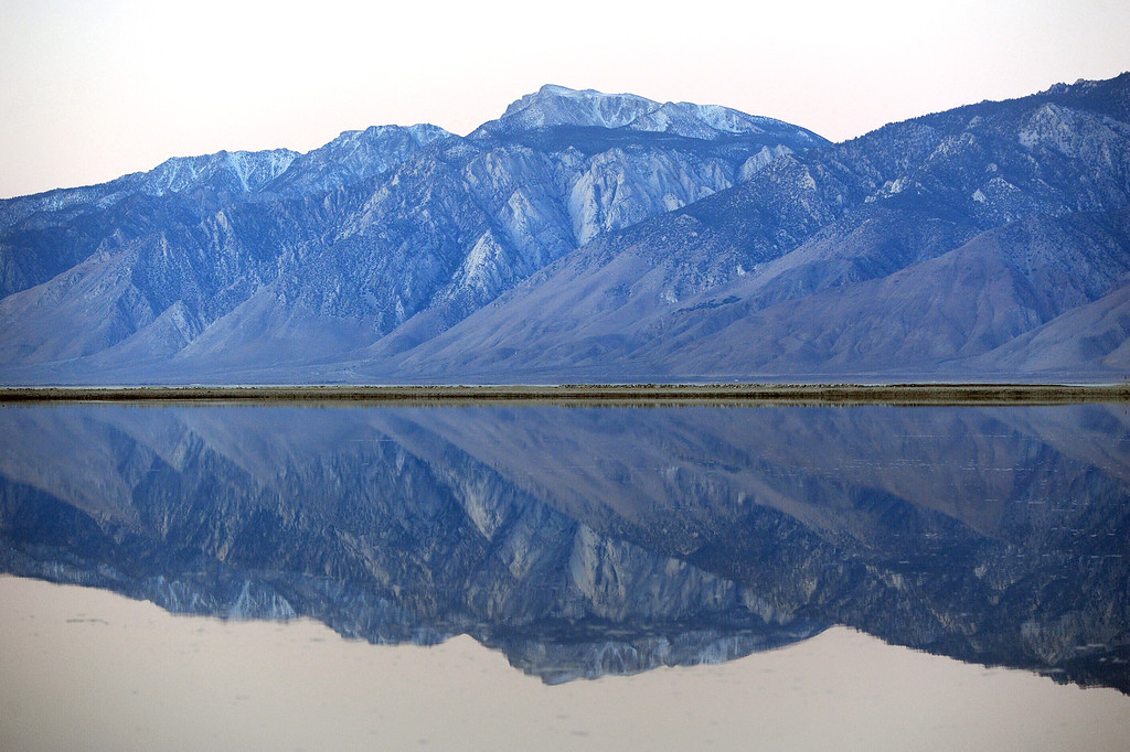 . The Sierra Nevada Mountains are reflected in Owens Lake. (Photo by Michael Owen Baker/L.A. Daily News)
