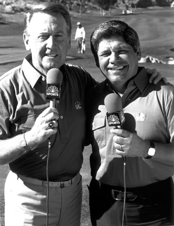 . Vin Scully, left, and Lee Trevino in 1988.   L.A. Daily News file photo