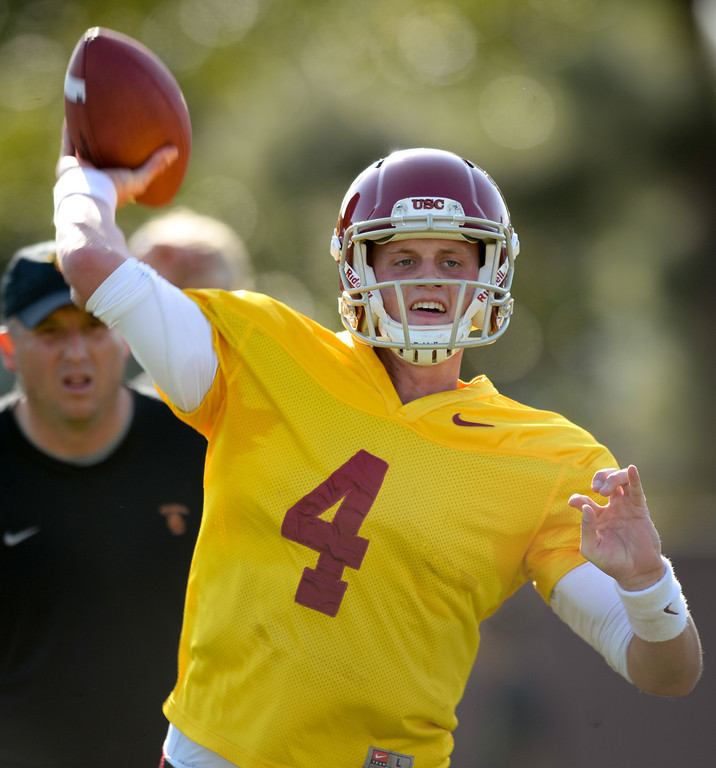 . USC QB Max Browne passes at practice, Thursday, March 27, 2014, at USC. (Photo by Michael Owen Baker/L.A. Daily News)