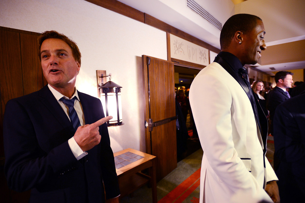 . Singers Michael W. Smith and Lecrae Moore talk to the media before Billy Graham\'s 95th birthday party at the Grove Park Inn in Asheville, N.C., Thursday, Nov. 7, 2013.  (AP Photo/The Asheville Citizen-Times, Erin Brtethauer)  NO SALES