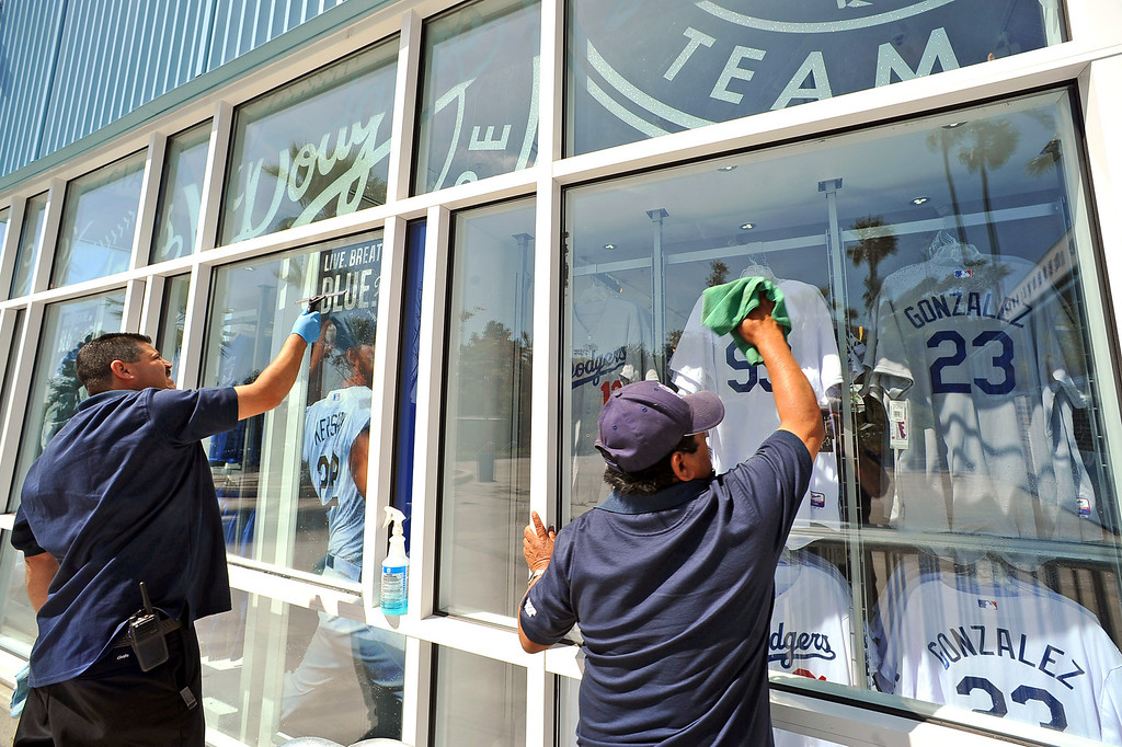 . Windows are cleaned at Dodger Stadium in preparation for the Opening Weekend series with the Giants Thursday April 3, 2014.(Andy Holzman/Los Angeles Daily News)