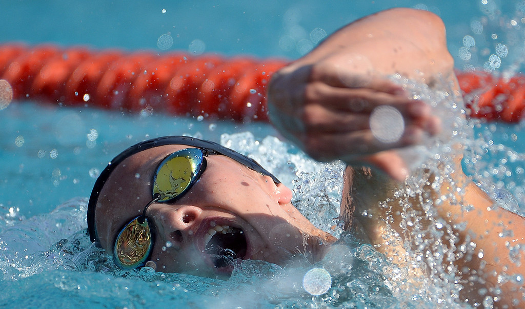 . Malibu\'s Logan Hotchkiss wins the 200 yard freestyle during the Division 4 CIF Southern Section Swimming Championships in the Riverside Aquatics Complex at Riverside City College in Riverside, Calif., on Friday, May 16, 2014.  (Keith Birmingham/Pasadena Star-News)