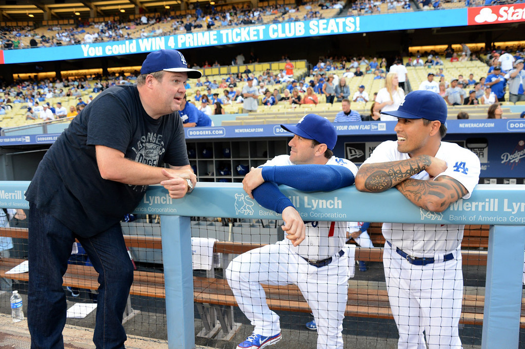 . In this handout photo provided by the Los Angeles Dodgers, Eric Stonestreet  attends the Cincinnatti Reds versus Los Angeles Dodgers game at Dodger Stadium on July 26, 2013 in Los Angeles, California.  (Photo by Jon Soohoo/Los Angeles Dodgers via Getty Images)