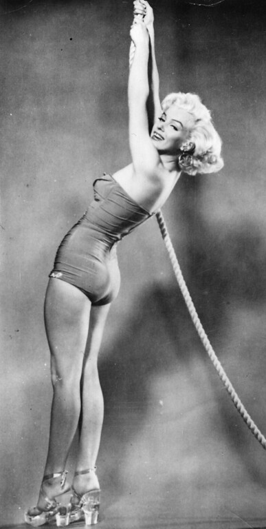 . circa 1948:  An early publicity shot of Marilyn Monroe (Norma Jean Mortenson or Norma Jean Baker, 1926 - 1962).  (Photo by Hulton Archive/Getty Images)
