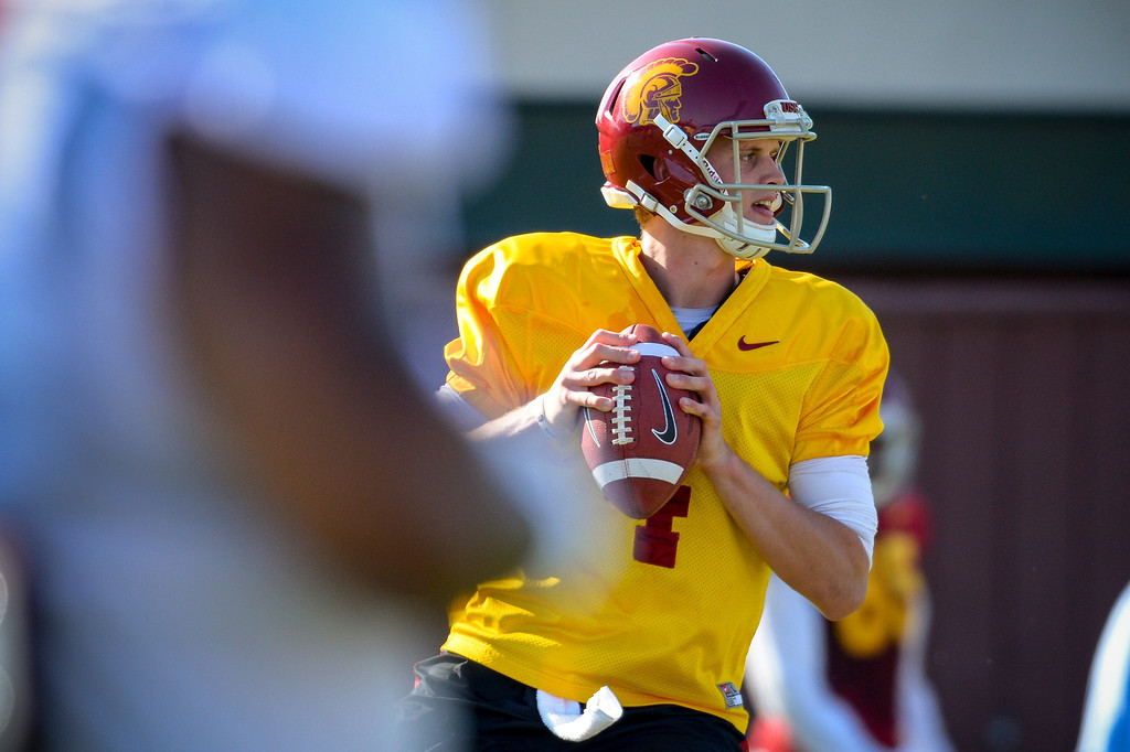 . USC�s Max Browne during spring practice at USC Tuesday, April 15, 2014.  (Photo by David Crane/Los Angeles Daily News.)