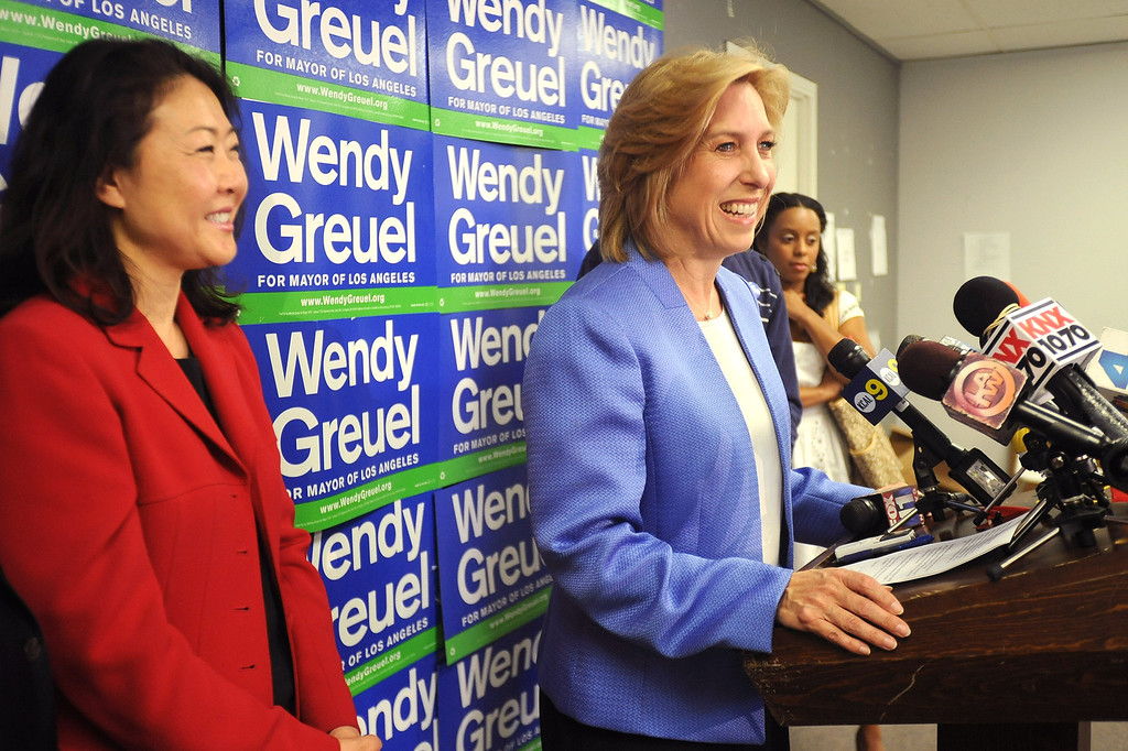 . Former mayoral candidate Wendy Greuel holds a press conference at her Van Nuys field office May 22, 2013.  Greuel was defeated by Eric Garcetti in a mayoral runoff Tuesday in Los Angeles.(Andy Holzman/Staff Photographer)
