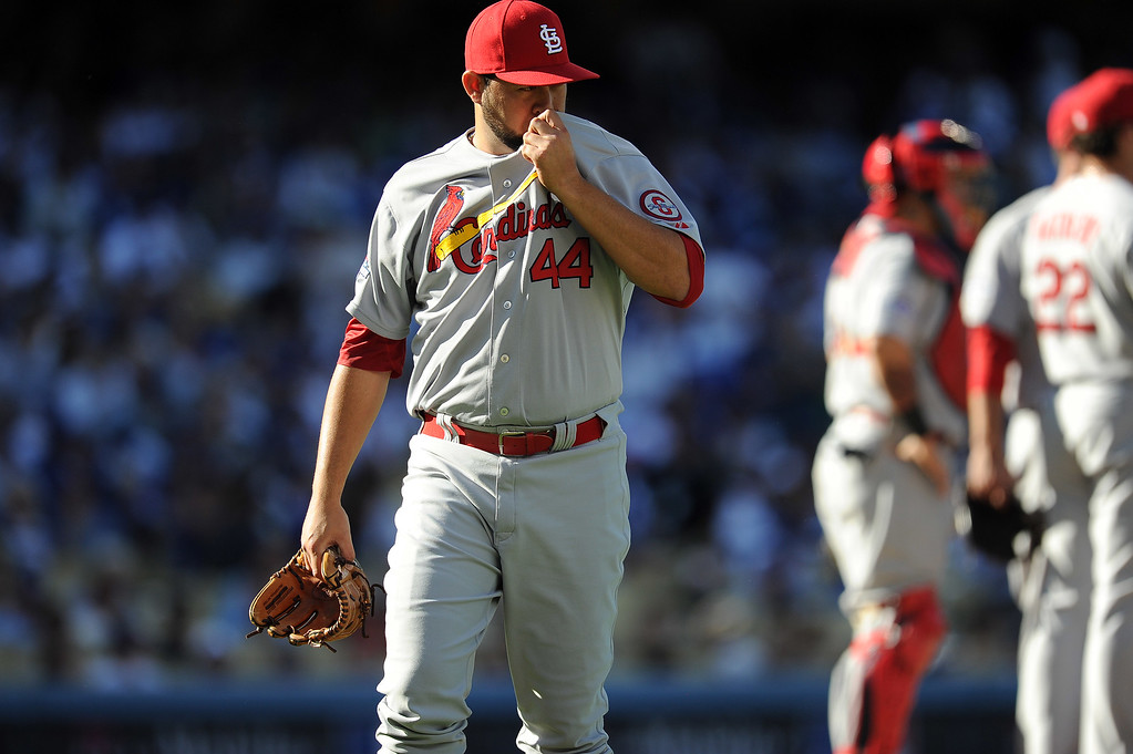 . The Cardinals pitcher Edward Mujica leaves the game in the 7thduring game 5 of the NLCS at Dodger Stadium Wednesday, October 16, 2013. The Dodgers beat the Cardinals 6-4. (Photo by Hans Gutknecht/Los Angeles Daily News)