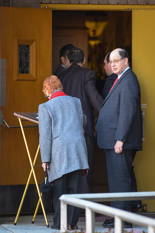 . Assemblyman Brad Sherman arrives at funeral services for Joseph Gatto  at Our Mother of Good Counsel Catholic church on Monday November 25, 2013.  Joseph Gatto was found dead in his Silver Lake home on November 13th.    ( Photo by David Crane/Los Angeles Daily News )