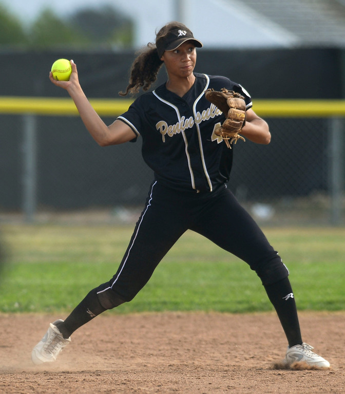 . Peninsula shortstop Brooke Vines (4) makes the out at first against North in a first round CIF SS Division III softball game Thursday in Torrance. Peninsula won 4-1. 20130516 Photo by Steve McCrank / Staff Photographer