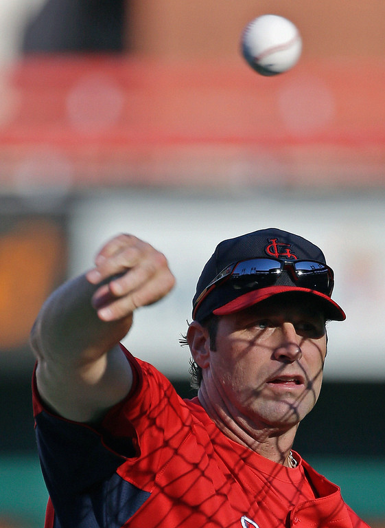 . St. Louis Cardinals manager Mike Matheny throws batting practice before Game 1 of the National League baseball championship series against the Los Angeles Dodgers Friday, Oct. 11, 2013, in St. Louis. (AP Photo/David J. Phillip)
