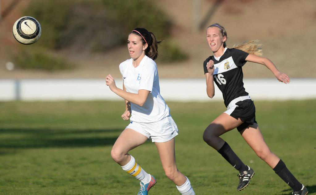 . La Habra plays Sunny Hills in their girls soccer game at La Habra High School on Thursday January 16, 2014. Sunny Hills defeated La Habra 2-0. (Staff Photo by Keith Durflinger/San Gabriel Valley Tribune)