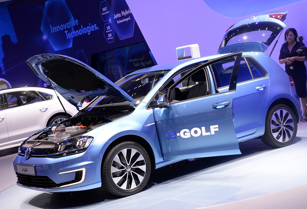 . Nov 22,2013 Los Angeles CA. the new 2014 VW E-Golf car on displays during the 2nd media day at the Los Angeles Auto Show. Photo by Gene Blevins/LA Daily News