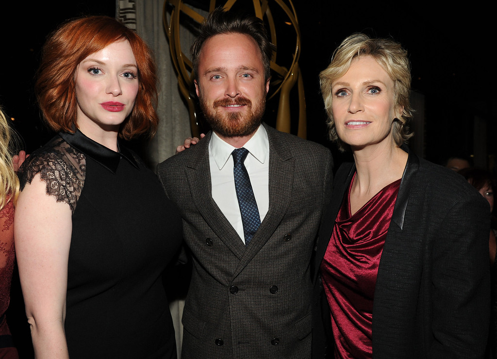 . From left, actors Christina Hendricks, Aaron Paul and Jane Lynch attend the Academy of Television Arts & Sciences 2013 Performers Peer Group Reception on Monday, August 19, 2013 at the Sheraton Universal Hotel in Universal City, Calif. (Photo by Frank Micelotta/Invision for Academy of Television Arts & Sciences/AP Images)