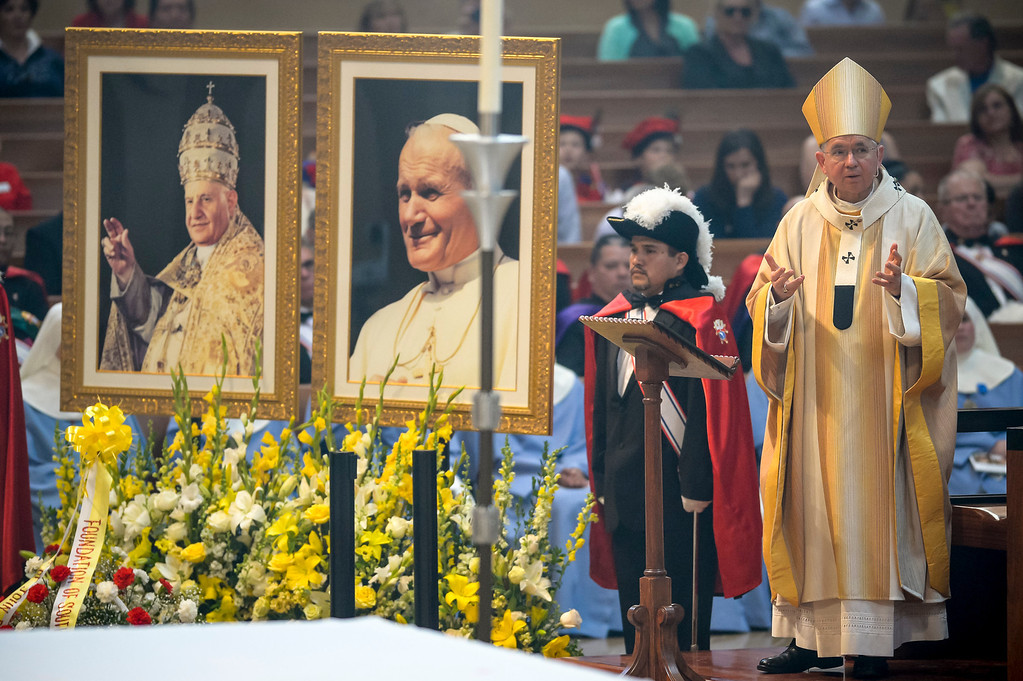 . Jose Gomez, Archbishop of Los Angeles Performs a Mass of Thanksgiving in honor of the canonization of Saint John XXIII and Saint John Paul II at Our Lady of the Angels Sunday, April 27, 2014.   (Photo by David Crane/Los Angeles Daily News)
