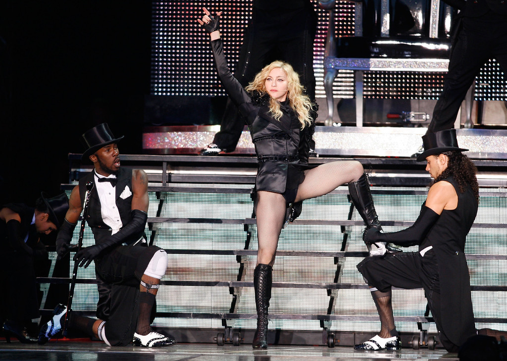 . U.S. singer Madonna performs on stage during her \'Sticky and Sweet\' tour  in Tallinn,Estonia,Tuesday, Aug. 4, 2009. (AP Photo/Mindaugas Kulbis)