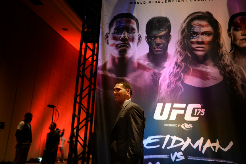 . UFC Middleweight champion Chris Weidman during Ultimate Media Day at the Mandalay Bay Events Center Thursday, July 3, 2014. (Photo by Hans Gutknecht/Los Angeles Daily News)