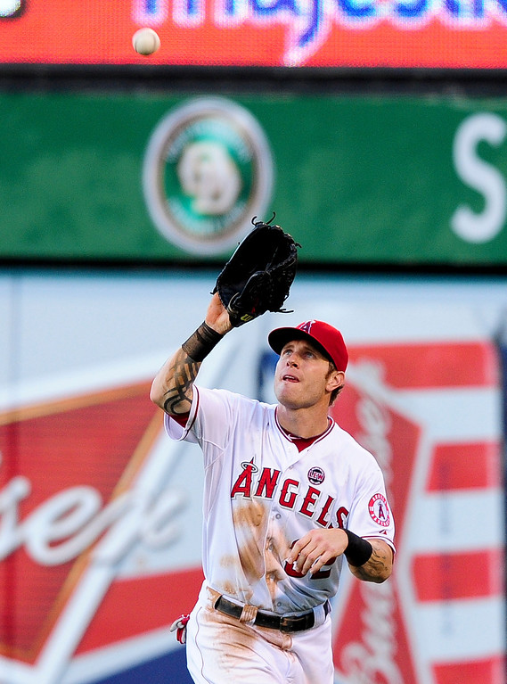 . JULY 7: Hamilton went 1 for 3 with a double in the Angels\' 3-0 victory over Boston. In the 12-game stretch, Hamilton raised his batting average from .214 to .230 and his on-base percentage from .269 to .291.  (AP Photo/Gus Ruelas)