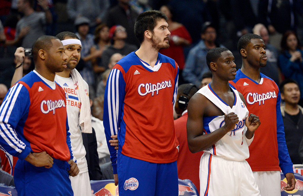 . The Los Angeles Clippers\' bench looks on as they lose to the Memphis Grizzlies Monday, Nov. 18, 2013, in Los Angeles.  The Clippers lost the game 106-102.(Andy Holzman/Los Angeles Daily News)