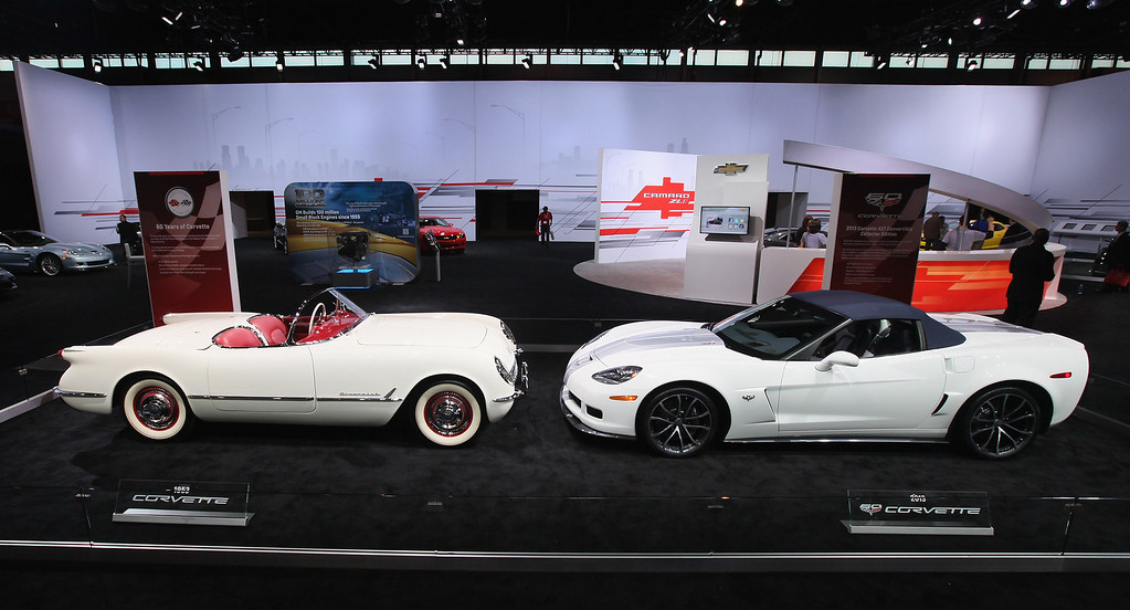 . CHICAGO, IL - FEBRUARY 08:  A 1953 Chevrolet Corvette sit nose to nose with a 60th anniversary 2013 Corvette 427 Convertible Collectors Edition during the media preview of the Chicago Auto Show at McCormick Place on February 8, 2012 in Chicago, Illinois.  Unlike the 1953 model which came with a 150-hp Blue Flame six cylinder engine, the Colectors Edition Corvette is powered by a 505-hp, 7.0L (427 cid) LS7 V-8 engine - making it the fastest convertible in Corvette\'s history. The show, which is the largest and oldest auto show in the country, opens to the public on February 10.  (Photo by Scott Olson/Getty Images)